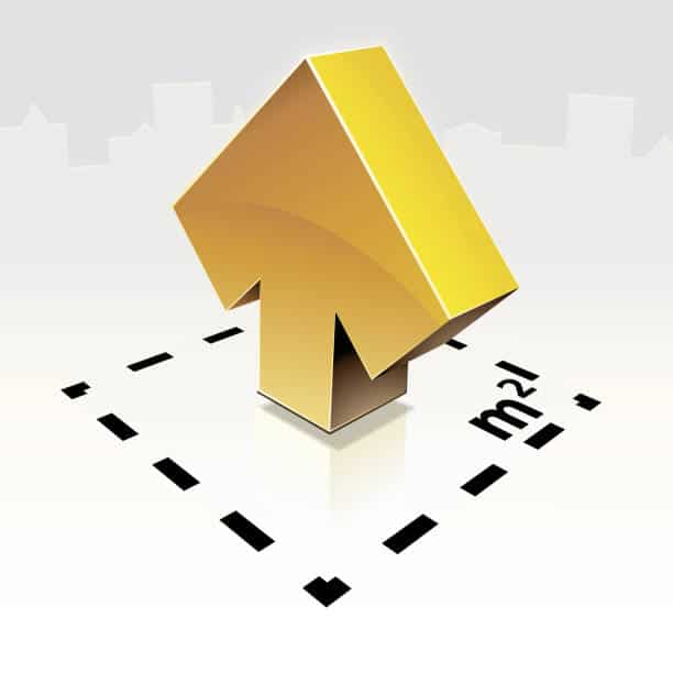 Gold 3D arrow in a square with housings in the background